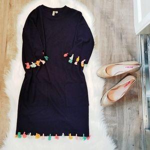 ASOS Navy Fringe Tassel dress